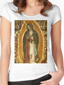 Our Lady of Guadalupe, Virgin Mary, Blessed Mother Women's Fitted Scoop T-Shirt