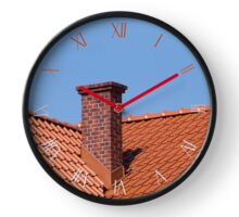 Red tiles sheet roof overlapping rows Clock