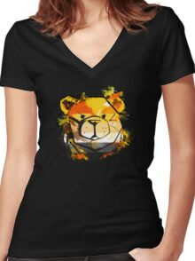 ROBUST Bear Splater Women's Fitted V-Neck T-Shirt