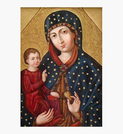 Polish Virgin Mary Poster, Madonna and Child Jesus, Holy icon, Catholic art Photographic Print