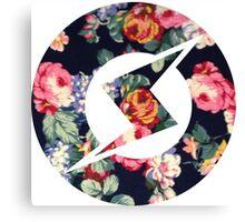 Floral Metroid Symbol Canvas Print