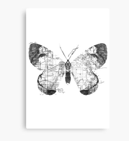 Butterfly Wanderlust Black and White Canvas Print