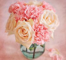 Beautiful bouquet of white roses and pink carnations by carolynrauh