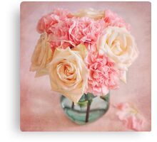 Beautiful bouquet of white roses and pink carnations Canvas Print