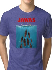 JAWAS Joke Retro Shark Classic Movie, Funny Big Fish Jawa Tri-blend T-Shirt
