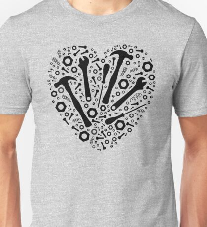 Mechanic Love - Graphic Tools in a Heart Unisex T-Shirt