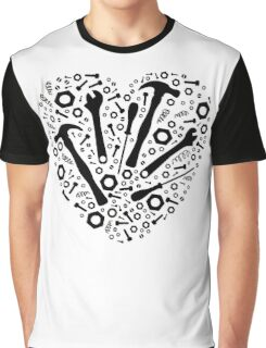 Mechanic Love - Graphic Tools in a Heart Graphic T-Shirt