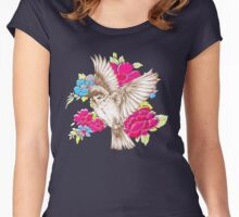 Vintage Bird with Flowers Women's Fitted Scoop T-Shirt