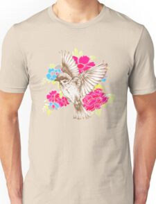 Vintage Bird with Flowers Unisex T-Shirt