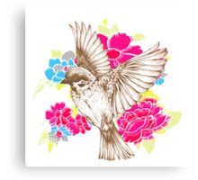 Vintage Bird with Flowers Canvas Print