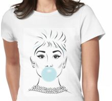 Audrey Hepburn Bubble Gum  Womens Fitted T-Shirt