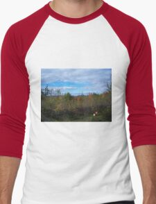 Corgi in Autumn Foliage Men's Baseball ¾ T-Shirt