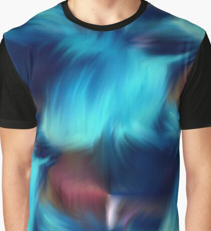 Blue Abstract Brush Strokes Graphic T-Shirt