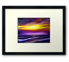 nature seascape landscape sunset sunrise tropical beach blue purple yellow Framed Print