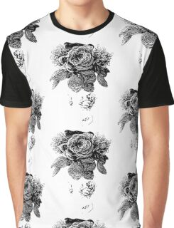 black and white beaded floral sculptural print Graphic T-Shirt
