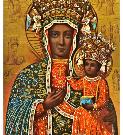 Our Lady of Czestochowa, Black Madonna Poland, Virgin Mary and Child Jesus Sticker