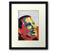 Colorful design of Hugo Chavez on a wall in Pampatar, Venezuela Framed Print