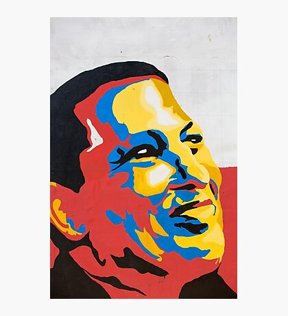 Colorful design of Hugo Chavez on a wall in Pampatar, Venezuela Photographic Print