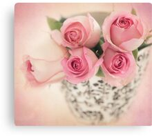 Four pink roses Canvas Print
