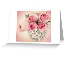 Four pink roses Greeting Card