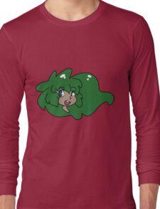 Green Haired Girl Face Long Sleeve T-Shirt