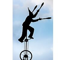 Silhouette of clown on unicycle in La Candelaria, Bogota  Photographic Print