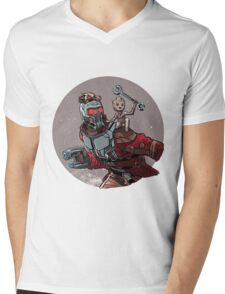 Star-Lord and baby Groot Mens V-Neck T-Shirt