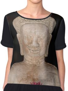 Buddha statue isolated on back background, Thailand Chiffon Top