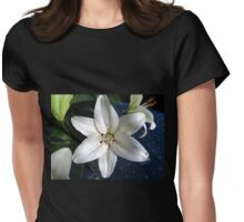 Pure White Lily  Womens Fitted T-Shirt
