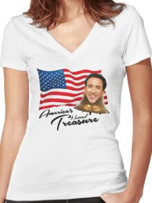 America's National Treasure - Black Text Women's Fitted V-Neck T-Shirt