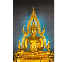 Illuminated golden Buddha inside a Thai temple Photographic Print