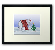 Elephant in a Red Hand-Knitted Sweater Framed Print