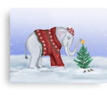 Elephant in a Red Hand-Knitted Sweater Metal Print