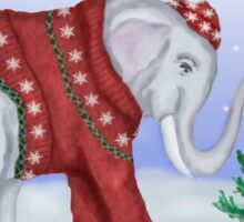 Elephant in a Red Hand-Knitted Sweater Sticker