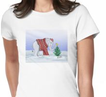 Elephant in a Red Hand-Knitted Sweater Womens Fitted T-Shirt