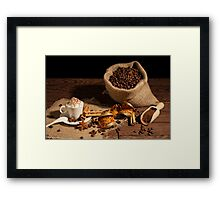 Cup of coffee with whipped cream and cocoa powder Framed Print