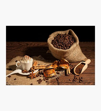 Cup of coffee with whipped cream and cocoa powder Photographic Print