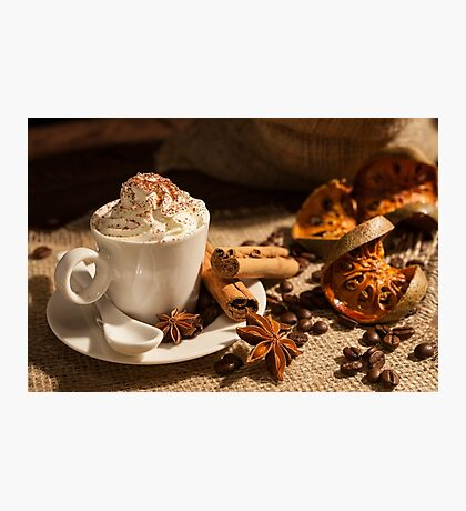 Close-up of coffee with whipped cream and cocoa powder Photographic Print
