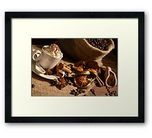 Close-up of a cup of coffee with whipped cream Framed Print