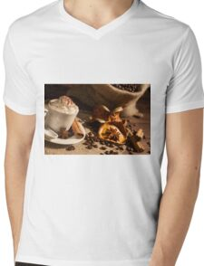 Close-up of coffee cup with whipped cream and cocoa powder Mens V-Neck T-Shirt