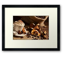 Close-up of coffee cup with whipped cream and cocoa powder Framed Print