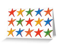 Holiday Card - Primary Color Hand Drawn Stars Greeting Card
