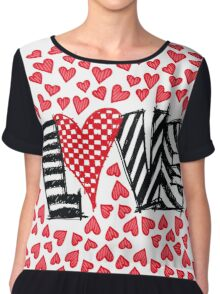 Freehand Sketch Love Letter Chiffon Top