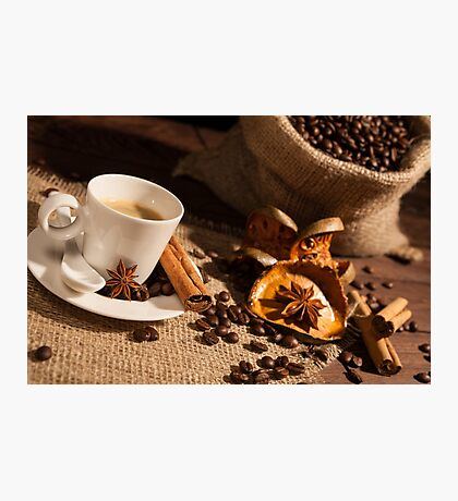 Close-up of coffee cup with star anise and cinnamon Photographic Print