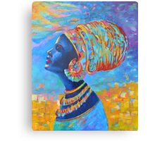 Black Woman Afro Africa African People Painting Blue Yellow Canvas Print