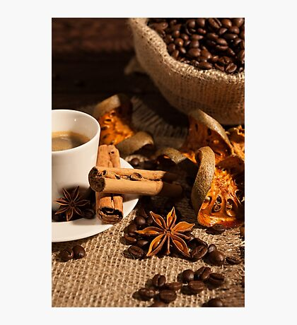 Close-up of coffee cup with cinnamon and star anise Photographic Print