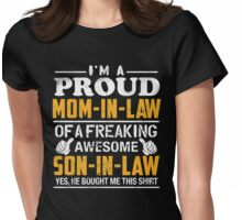 Vintage gift, Proud Mom In Law Of Awesome Son In Law shirt Womens Fitted T-Shirt