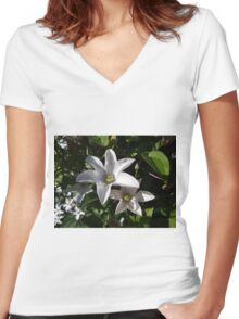 White Clematis  Women's Fitted V-Neck T-Shirt