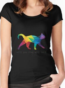 colourfull - cats - meow - graphic - trending tshirt Women's Fitted Scoop T-Shirt