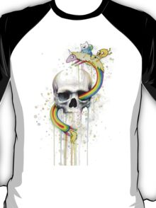Adventure through Time and Face with Jake, Finn, and Lady Rainicorn | Skull Watercolor T-Shirt